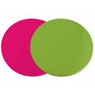 12 supports à gâteaux ronds rose-vert Ø 24 cm