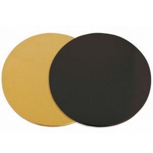 12 soportes de pastel redondos dorado-negro Ø 24 cm