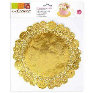12 golden napkins for cakes Ø 26.5 cm