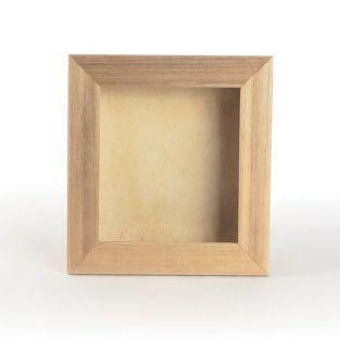 Cadre en bois vitrine ou photo 17 x 20 x 3 cm