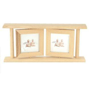 Double cadre photo en bois 25 x 12,5 cm