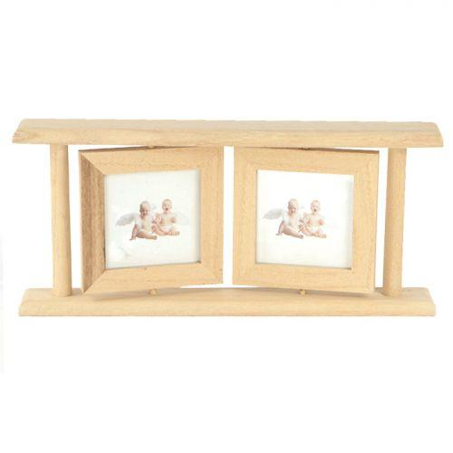 Double wooden picture frame 25 x 12.5 cm