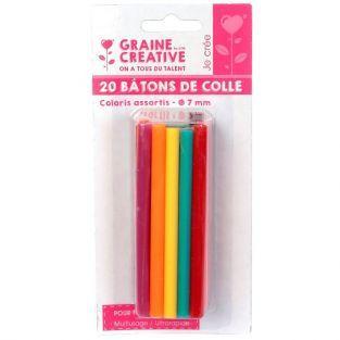 20 glue sticks for glue gun Ø 7 mm - Colors