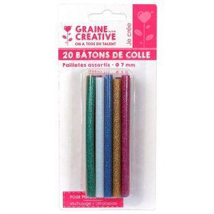 20 glue sticks for glue gun Ø 7 mm - Glitter colors