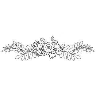 Sello de madera 3,7 x 10 cm - Adorno floral