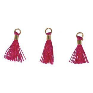 3 Mini-pompons avec œillet 15 mm - rose