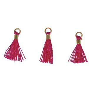 3 Mini-tassels with eyelet 15 mm - pink