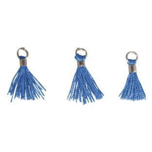 3 Mini-pompons avec œillet 15 mm - bleu