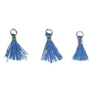 3 Mini-tassels with eyelet 15 mm - blue