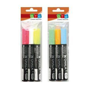 6 marqueurs-craie 6 mm - Blanc-jaune-rose-bleu-vert-orange