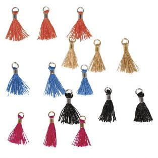 Mini-pompons with eyelet 15 mm - beige-blue-black-orange-pink
