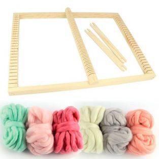 Telar rectangular 30 x 39 cm + 6 bolas de lana