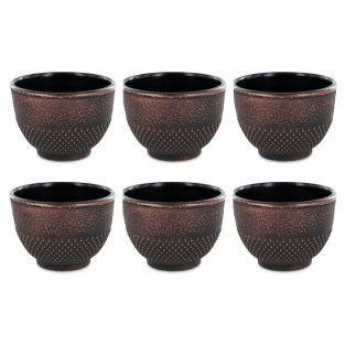 6 tasses en fonte de Chine noir & bronze 15 cl