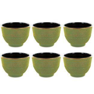 6 Chinese cast iron tea cups 15 cl - green & bronze