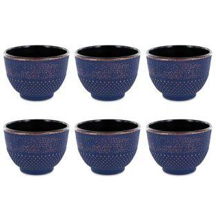 6 Chinese cast iron tea cups 15 cl - blue & bronze