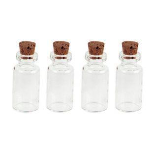 4 mini flacons en verre 2,4 cm à bouchon liège