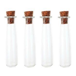 4 mini tubos de vidrio 4 cm con corcho