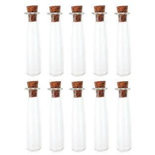 10 mini tubos de vidrio 4 cm con corcho