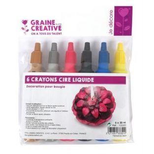 6 lápices de cera líquida para velas