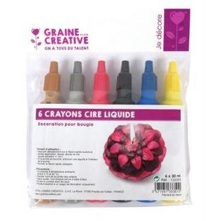 6 crayons cire liquide pour bougie