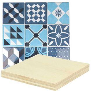 Pegatinas mosaico azulejos azules + placas de madera 8 x 8 cm