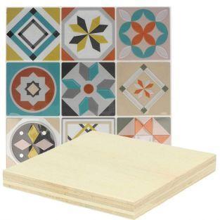 Stickers Carreaux de ciment mosaïque azulejos pastel & ocre + plaques de bois 8 x 8 cm