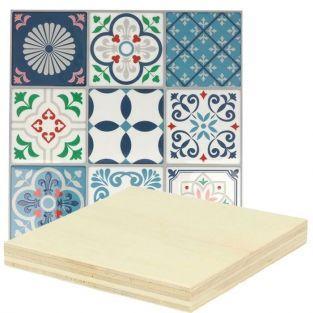 Pegatinas mosaico azulejos Lisboa + placas de madera 8 x 8 cm