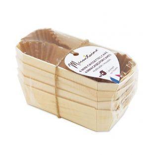 4 mini - caissettes à cake en bois + 8 caissettes sulfurisées de cuisson