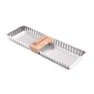 Moule à tarte rectangulaire en fer blanc 35 x 11 cm