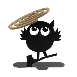 Spiral incense holder - Black owl