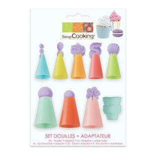 Set of 8 plastic pastry nozzles + adapter