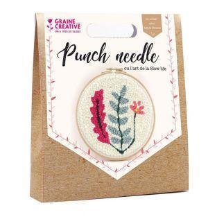 Coffret Punch needle Ø 20 cm - Végétal