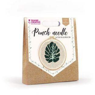 Coffret Punch needle Ø 20 cm - Feuille tropicale