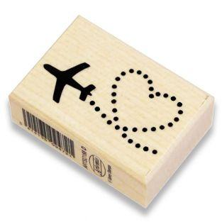 Wooden stamp - Heart & plane