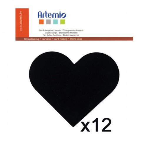 12 stickers ardoise Coeur