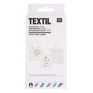 5 textile pens - Fluorescent