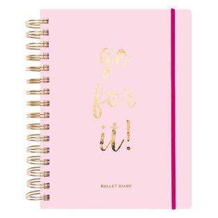 Bullet journal con espiral rosa de 96...