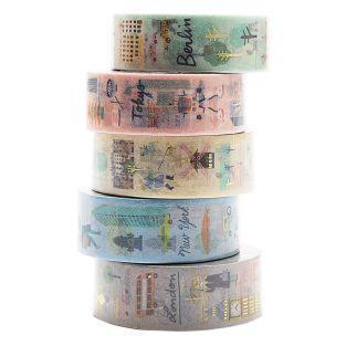 5 masking tapes ciudades del mundo -...
