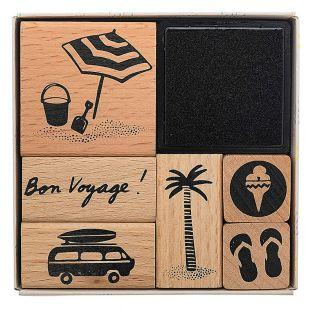 6 wooden stamps with inker - Holiday...