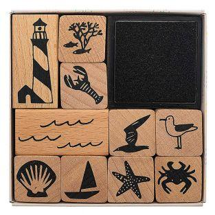 10 wooden stamps with inker -...