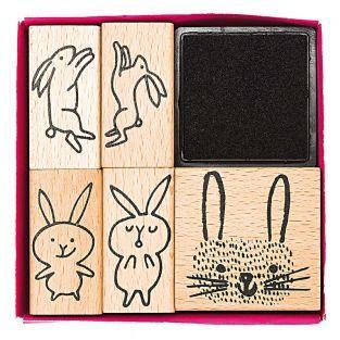 5 tampons en bois avec encreur - lapins