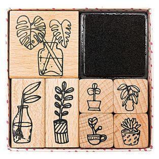 7 timbri in legno con inchiostratore...