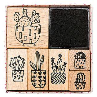 6 tampons en bois avec encreur - cactus