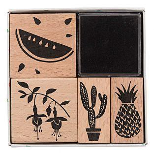 4 wooden stamps with inker -...