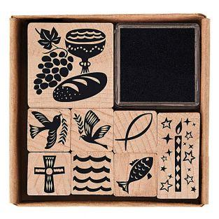 8 wooden stamps with inker -...