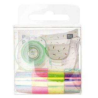 5 mini masking tapes espejo - arco iris