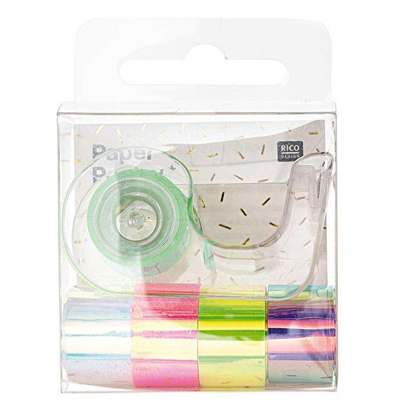 1,2 cm x 1,8 m 5 mini masking tapes iridescent miroir blanc et rose