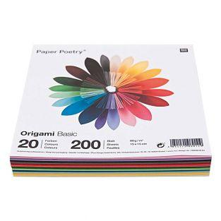 200 origami sheets 15 x 15 cm - Basic
