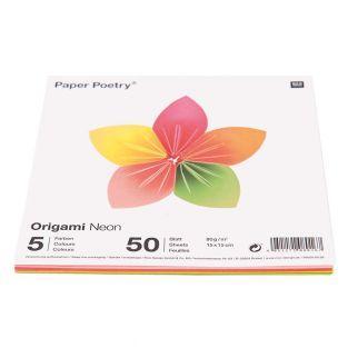 200 Blatt für Origami 15 x 15 cm - Fluo