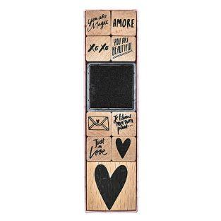 9 timbri in legno con inchiostratore...